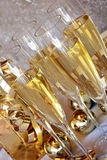 Champagne glasses. On the table for party or celebration - New year concept Royalty Free Stock Photos