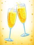 Champagne glasses. Two champagne glasses celebrating something Stock Photos