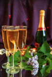Champagne in glasses Stock Image