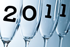 Champagne glasses in 2011 V6. Beautiful champagne glasses with 2011 inside Royalty Free Stock Images