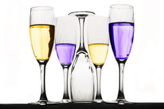 Champagne glasses. With floating liquid Royalty Free Stock Images