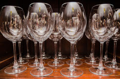 Champagne glasses. On the shelf Stock Photography