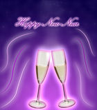 Champagne glasses. On bright purple background. New Year Royalty Free Stock Image