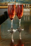 Champagne glasses. Two glasses with kir royal inside Royalty Free Stock Images