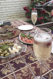 Champagne glasses and appetisers on table. At garden Stock Photography