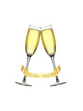 Champagne glasses and banner. Two champagne glasses and a New Years banner isolated against a white background Stock Photos