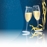 Champagne glasses on blue - new year concept. Champagne glasses on blue background with some golden ribbons - new year concept royalty free illustration
