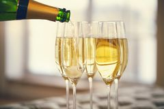 Champagne glasses and champagne bottle. Party concept royalty free stock image