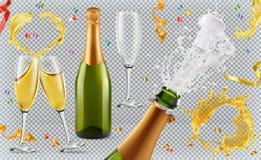 Free Champagne. Glasses, Bottle, Splash. 3d Icon Set Stock Photography - 107693412
