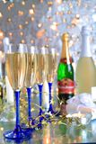 Champagne in glasses,bottles,gift box Royalty Free Stock Images