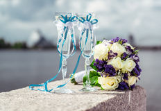 Champagne glasses and bouquet Royalty Free Stock Photo