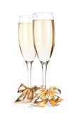 Champagne glasses with bow decor Royalty Free Stock Photo