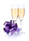Champagne glasses with bow decor Stock Image
