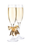 Champagne glasses with bow decor Stock Images