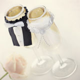 Champagne glasses for bride and groom Royalty Free Stock Photography