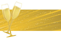 Champagne Glasses on bubble banner Royalty Free Stock Photos