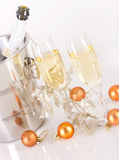 Champagne glasses with bubbles Royalty Free Stock Photo
