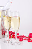 Champagne glasses with bubbles Royalty Free Stock Images