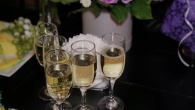 Champagne glasses on the buffet table. Champagne glasses on the buffet table stock video footage