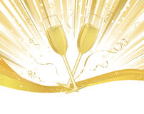 Champagne Glasses on Burst of Light Stock Photos