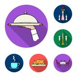Restaurant and bar flat icons in set collection for design. Pleasure, food and alcohol vector symbol stock web. Champagne, glasses, candlestick, candle, fire Stock Illustration