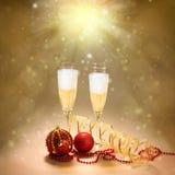 Champagne Glasses. Celebração do ano novo e do Natal Imagem de Stock