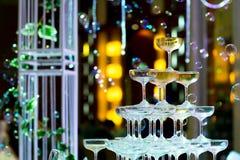 Champagne glasses for celebrate wedding. Ceremony Stock Photo