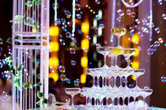 Champagne glasses for celebrate wedding Stock Photography