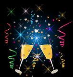 Champagne glasses celebration. Background two glasses of champagne - confetti party celebration Royalty Free Stock Photography