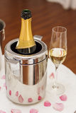 Champagne and glasses at celebration Royalty Free Stock Image