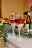 Champagne glasses on  celebratory table Royalty Free Stock Image