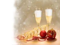Champagne Glasses. Celebrazioni di Natale e del nuovo anno Immagine Stock