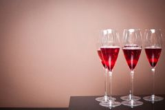 Champagne glasses with a cherry Stock Photo