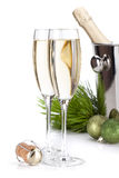 Champagne glasses and christmas decor Stock Photos