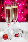 Champagne glasses and christmas decoration Royalty Free Stock Photography