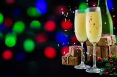 Champagne in in glasses with Christmas decoration royalty free stock image