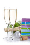 Champagne glasses and christmas gift Stock Photo