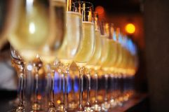 Champagne glasses. Closeup of glasses of champagne  in a row on a table Stock Images