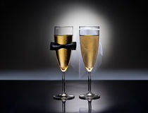 Champagne glasses with conceptual heterosexual decoration Royalty Free Stock Photo