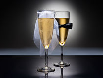 Champagne glasses with conceptual heterosexual decoration Stock Photo