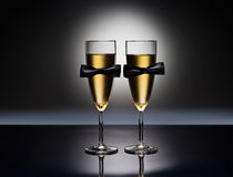 Champagne glasses with conceptual same sex decoration. For gay men Royalty Free Stock Photos