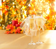 Champagne glasses with conceptual same sex decoration Stock Image
