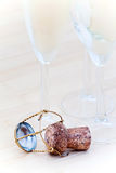Champagne glasses and cork Stock Image