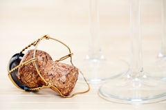 Champagne glasses and cork Royalty Free Stock Image