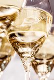 Champagne glasses on dark stone Background royalty free stock photos