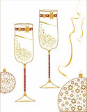Champagne glasses decorated for the new year Stock Photo
