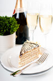 Champagne in glasses and a dessert Stock Photo