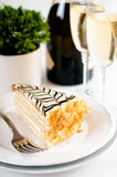 Champagne in glasses and a dessert Stock Photos