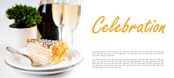 Champagne in glasses and a dessert Stock Images