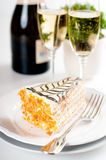 Champagne in glasses and a dessert Stock Photography